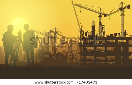 Illustration Tractor plowing a area for construction,construction vector background,Construction info graphics, Book Cover Design.