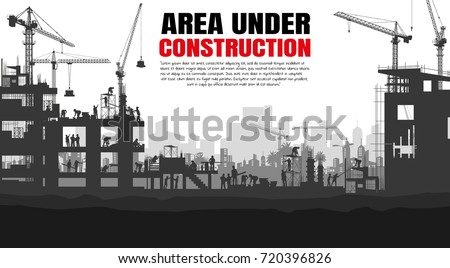 Illustration Tractor plowing a area for construction, vector background info graphics,Engineers inspecting site, Book Cover Design.