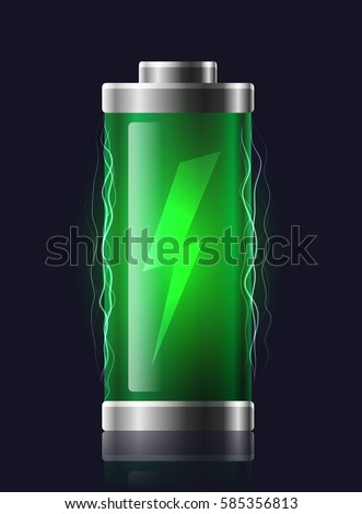 Illustration transparent charged batteries with lightning. Vector element for your creativity