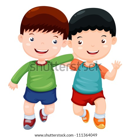 illustration two boys have fun