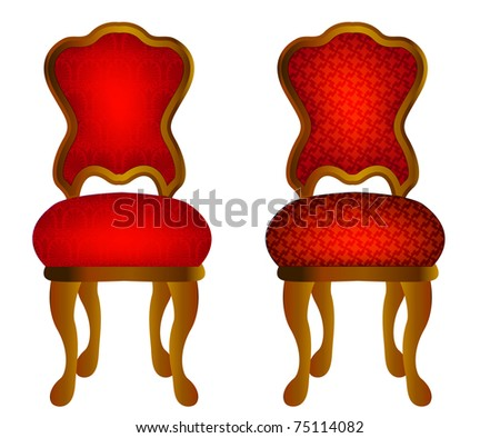 illustration two red chairs with pattern