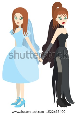 illustration two sisters twins