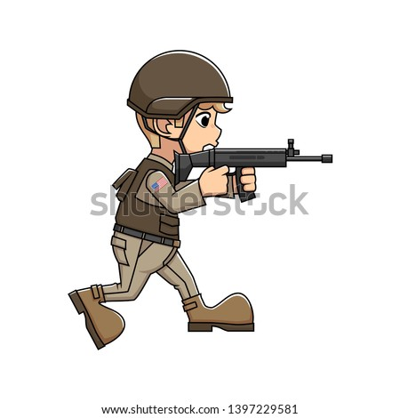 Illustration Uniformed American men were fighting holding scar-l weapons. America's Independence Day 4th july
