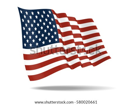 illustration United States of America flag waving Isolated on White Background,vector