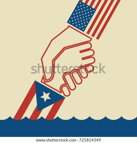 Illustration urging hurricane relief for Puerto Rico. American hand pulling up  Puerto Rican hand. Concept of helping or saving victims.  Foto stock ©