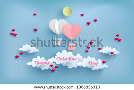 illustration valentine day. happy valentine day. beautiful design with air balloons flying across the clouds. paper art design. #1006836313