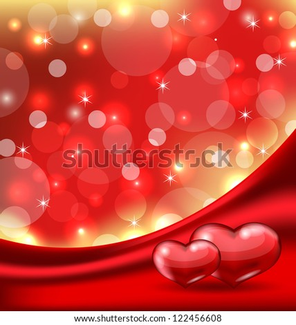 Illustration Valentine's card with beautiful hearts - vector