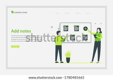 Illustration vector Add notes concept. people add some notepaper on the board. Suitable for landing page, web, flyer, website, and banner. Foto d'archivio ©