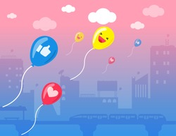 Illustration vector cartoon flat style of emoticon set on social media balloon holding banner in the sunset sky. Social media marketing concept on promotion ad.