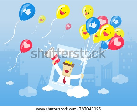 Illustration vector cartoon flat style of emoticon set on social media balloon  holding post screen of social media and young businessman is using megaphone for call love,like,follow as digital market