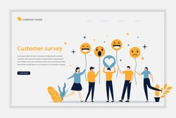 Illustration vector Customer survey concept landing page. Feedback business concept. Customer feedback online review report client survey. can be use for landing page, template, banner, website, flyer