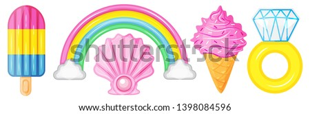 Illustration vector cute cartoon of inflatable mattress collection. Ice cream stick, rainbow with cloud,pearl,ice cream cone,diamond ring isolated on white background for decorate pool party on summer