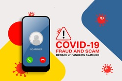 Illustration vector: Cyber criminal preying on online users during Covid-19 outbreak. Phishing, spam, fraud, scam and malware via fake call, phishing, social engineering.