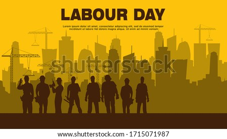 Illustration Vector Design Of World Labour day 1 May with Grunge Background.