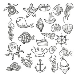 Illustration Vector doodle set of elements of marine life. Underwater World collection. Icons and symbols hand-drawing sketch