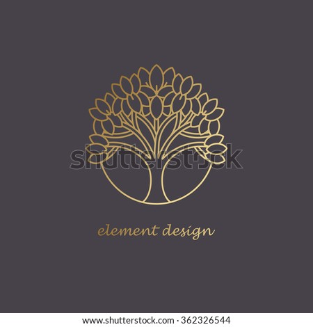Illustration vector element of a tree in a modern style mono line. Golden print on a black background. Decorative template to create a unique design, logos, signage, posters. Concept for organic shop.