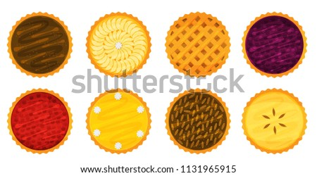 Illustration vector flat cartoon isolated on white background of whole of pie set. Piece of Apple,pecan,pumpkin,blueberry,cherry pie for plate on table on eating dessert concept