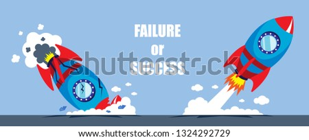 illustration vector flat cartoon of rocket launch as growth and failure new startup business concept