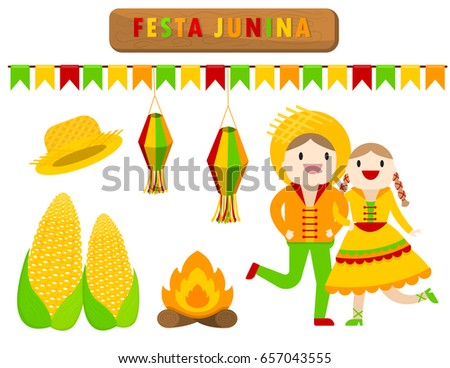 illustration vector flat cartoon style of cute object on Festa Junina of Brazil and Portugal