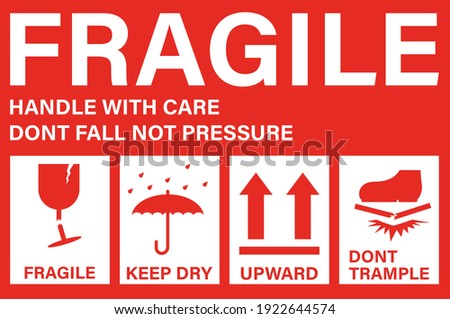 Illustration vector: Fragile handle with care sticker and poster for delivery service Stock foto ©
