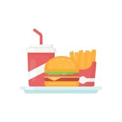 Illustration vector graphic of burger with soft drink and french fries. perfect for fast food product, website, landing page, banner, flyer, etc