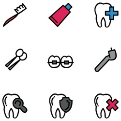 Illustration vector graphic of colorful dental care. Set of dental care. Filled line icon. Vector illustration isolated on white background.