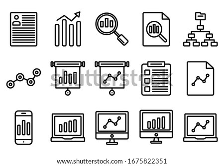 illustration vector graphic of data analytic icon sets, perfect for background, website, pattern,analytic, data, etc. editable stroke