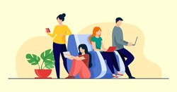 Illustration vector graphic of  Digital device users spending time together. Group of men and women using laptop computers, tablet, smartphone. Perfect for web, internet surfing, public access concept