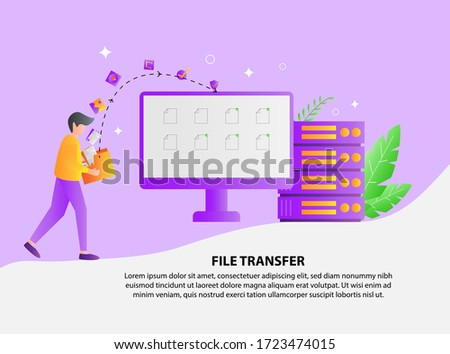 Illustration vector graphic of File transfer copy files data sheet exchange concept, sharing files between devices with folders on the screen. Backup files, flat icon, File transfer concept. stock photo