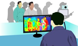 Illustration vector graphic of Health officials check people who come from China with a thermal scanner to scan the corona virus or covid-19 virus. vector EPS10. stop virus outbreak concept. covid-19.