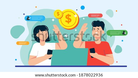 Illustration vector graphic of people making money from referral. Refer a friend or referral marketing concept. Perfect for poster, banner, web, promotion, application, card, template, coverbook. etc. Stock photo ©