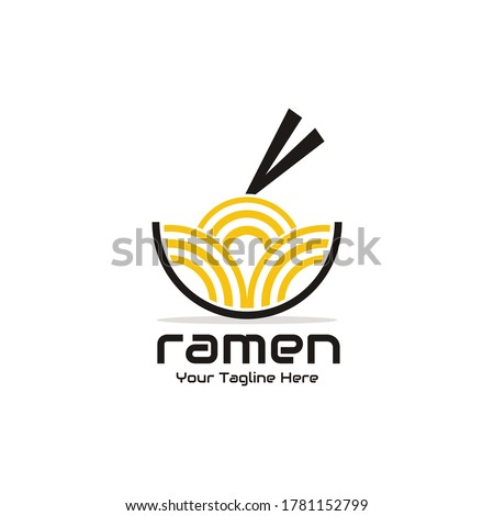 illustration vector graphic of ramen or noodles in a bowl with chopsticks on it - perfect for ramen food, noodles food product, restaurant, cafe, etc ストックフォト ©