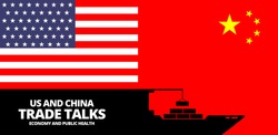 Illustration vector graphic of United States flag and China flag with Container ship symbol. US and China trade talk about economy and public health text. Trade war between China and America concept.