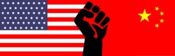 Illustration vector graphic of United States flag,China flag and a human hand with a clenched fist held raise in the air. US and China trade talk economy, Trade war between China and America concepts.