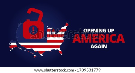 Illustration vector graphic of United States map with padlock symbol inside. Flag map of United States of America on dark blue background. Opening up America Again and reopening economies concepts.