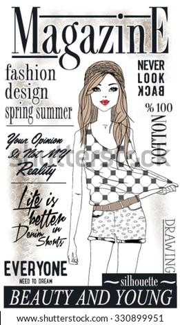 illustration vector handmade drawing fashion and cute magazine girl