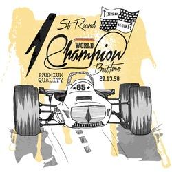 illustration vector handmade drawing vector sport car racing.champion racer