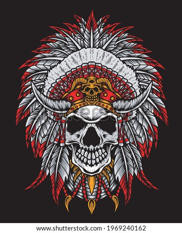 illustration vector indian apache skull head