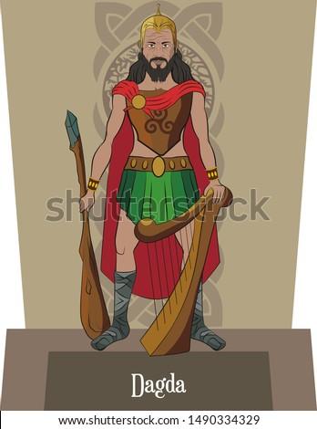 Illustration vector isolated of Celtic mythical god, Dagda, Main god, magician god, Art and music god