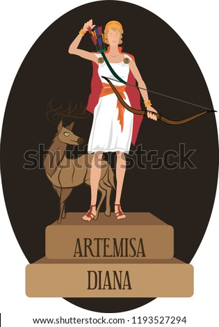 illustration vector isolated of mythological God Greek and Roman, Artemisa, Diana.