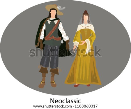 Illustration vector isolated of Neoclassicism, traditional costumes