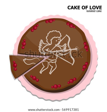 illustration vector isolated top view icon of chocolate cake of Valentine's day theme.
