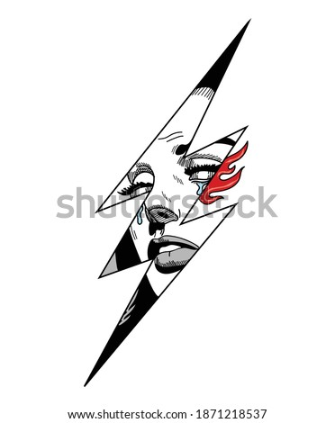 Illustration vector of a comic woman crying in a lightning, energy, power, thunder electricity, electric power symbol, with red flame. Creative drawing of a woman portrait pop art retro tattoo style.