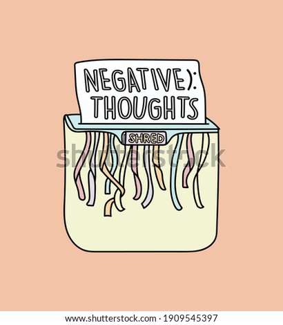 illustration vector of a shredder shredding a paper with the text  'negative thoughts' written on it. Conceptual motivational drawing, inspiration to get rid of bad negative thoughts. Be happy. Foto stock ©
