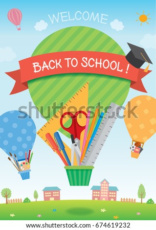 Illustration vector of back to school template with balloons for concept design decorated by stationery, art supplies and sports equipment on school background.