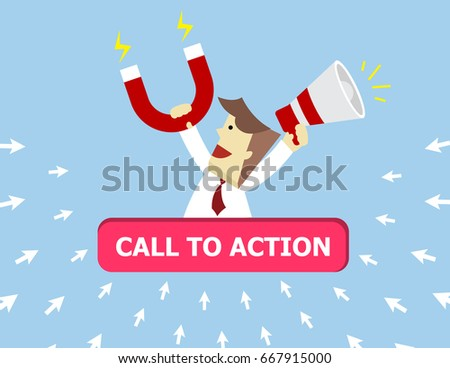 Illustration vector of call to action on search engine marketing as concept.Teen business man that hold magnet and megaphone on his hand to attract customer click arrow sign to him on button icon.