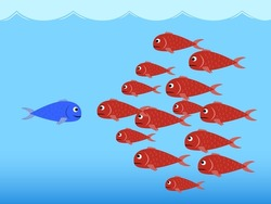 Illustration (vector) of competition between the red fishes and the blue fish. The blue fish is smile, but the red fishes are angry.