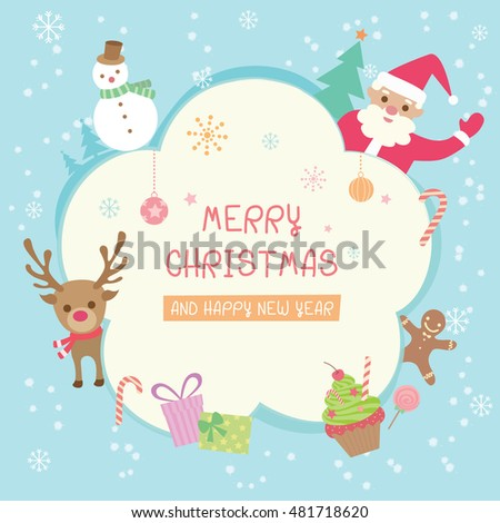 illustration vector of cute merry christmas and happy new year background with santa claus