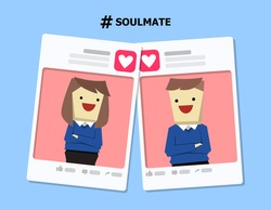 illustration vector of love couple profile frame template on online dating app as concept