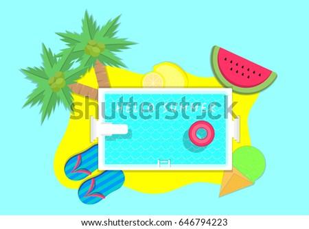 illustration vector of palm tree, pool, watermelon, ice cream cone, sandal, lemon slice and lemon fruit on hello summer concept - Shutterstock ID 646794223